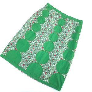 Boden Patchwork Polka Dot Floral Pencil Skirt